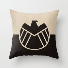 """Marvel Comic Store Superheroes Minimalist """"Avengers Agents of Shield"""" Pillow Cover"""