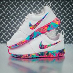 shoes rose roshe runs colorful multicolor white nike nike shoes nike running shoes nike roshe run nike roche pink purple blue neon neon pink neon blue white shoes yellow