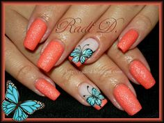 Blue Butterflies by RadiD from Nail Art Gallery Fabulous Nails, Gorgeous Nails, Pretty Nails, Nice Nails, Butterfly Nail Designs, Nail Art Designs, Hot Nails, Swag Nails, Nail Atelier