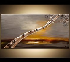 Original Abstract Birch Tree Painting Modern Acrylic Painting Palette Knife Gray Landscape by Osnat. $450.00, via Etsy.