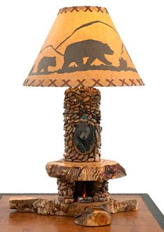 Lodge Table Lamp by Woodland Creek Furniture. Available with Bear, Buck, Fish or Elk Mount.