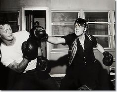 Elvis Presley and Red West at Elvis' 1034 Audubon Drive House : June 14, 1956.