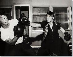 Elvis Presley and Red West at Elvis' 1034 Audubon Drive House : June 14, 1956.