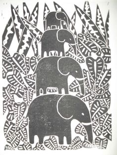 During Lino Turorial 1 and Lino Tutorial 2 we briefly touched on the types of different carving you can use with lino-cutting. Elephant Illustration, Autumn Illustration, Elephant Artwork, Elephant Print, Linocut Prints, Art Prints, Block Prints, Snake Art, Linoprint