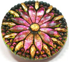Pink Daisy Czech glass button Fuchsia & green by OldeTymeNotions, $7.00