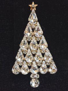 """Vtg EISENBERG ICE Christmas Tree Brooch w/ Tear Drop Clear Rhinestones, 3"""" Tall #EisenbergIce"""