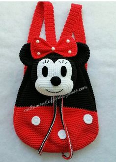 Nylon Minnie Mouse backpack, Handmade crochet backpack birthday gift, christmas gift,perfect to every girls. (Made to order) Minnie Mouse backpack Handmade crochet backpack by Crochet Mickey Mouse, Crochet Disney, Crochet Backpack, Backpack Pattern, Mini Backpack, Baby Knitting Patterns, Crochet Patterns, Crochet Purses, Crochet Handbags