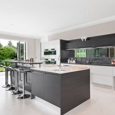 White and grey kitchen ideas beautiful cool design on a budget gray cabinet kit . white and grey kitchen ideas Modern Grey Kitchen, Grey Kitchen Designs, Gray And White Kitchen, Kitchen Design Open, Grey Kitchens, Open Plan Kitchen, Modern Kitchens, Modern Kitchen Cabinets, Kitchen Interior