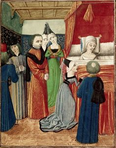 15th (ca. 1470-1472) century Suthern Netherlands - Bruges London, British Library  Harley 4380: Chroniques (Vol. IV, part 2) by Jean Froissart  fol. 22r - death of Anne of Bohemia, the first wife of Richard II of England  http://www.bl.uk/catalogues/illuminatedmanuscripts/record.asp?MSID=7232&CollID=8&NStart=4380