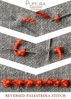 Crewel Embroidery Tutorial reversed palestrina stitch tutorial - Learn how to embroider with the lexicon of embroidery stitches. Step by step tutorials on how to do knots and it's variations. Hand Work Embroidery, Learn Embroidery, Silk Ribbon Embroidery, Crewel Embroidery, Hand Embroidery Patterns, Cross Stitch Embroidery, Machine Embroidery, Art Patterns, Japanese Embroidery