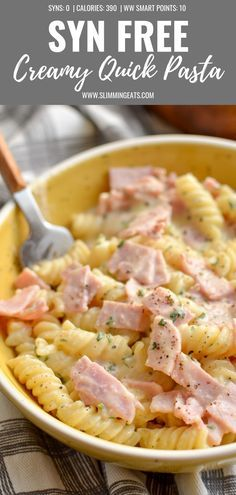 Easy slimming world recipes - This Quick Creamy Pasta is perfect for an easy lunch or dinner and combines just a few ingredients for a tasty flavoursome dish synfree slimmingworld weightwatchers pasta quickmeals smartpoints Slimming World Pasta Dishes, Slimming World Lunch Ideas, Slimming World Dinners, Slimming World Recipes Syn Free, Slimming Eats, Quick Lunch Recipes, Healthy Recipes, Quick Easy Lunch Ideas, Quick Pasta Recipes