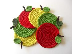 Apple Coasters Mix Green Red Yellow . Beverage Drink Leaves Healthy Vegan Decor Crochet Fruit Collection - Set of 6