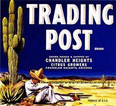 Phoenix Arizona Trading Post Orange Citrus Fruit Crate Label Advertising Art Print