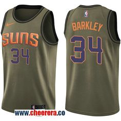 a69225a9 Men's Nike Phoenix Suns #34 Charles Barkley Green Salute to Service NBA  Swingman Jersey Nba
