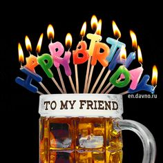 Funny Beer And Candles Birthday Card For Him