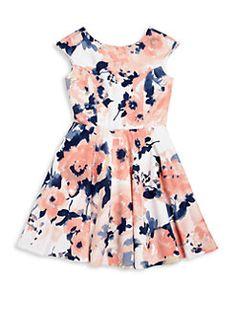 Un Deux Trois - Girl's Floral Fit-&-Flare Dress