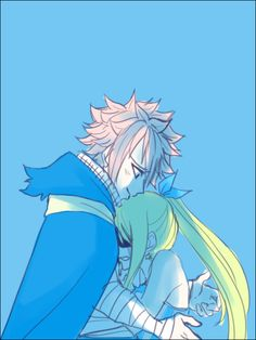 Fairy Tail - Natsu and Lucy<<<i swear this happened and they didnt show it in the manga