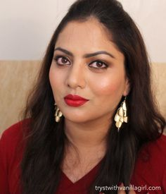 Gold Red Makeup Look for Tan Skin/Olive Indian Skin Tones