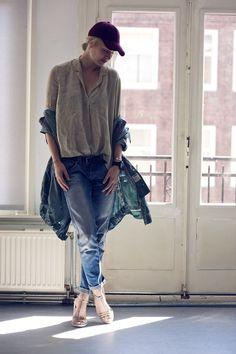 new uniform: slouchy skinnies + white button down + parka + baseball cap--hatH, shirt Cos, jacketGStar Raw jeans Just Jeans