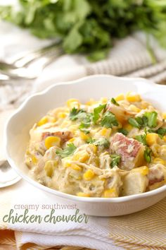 Super hearty and delicious Southwest Chicken Chowder recipe. It's so easy to make and is so full of flavor - Great family dinner recipe.