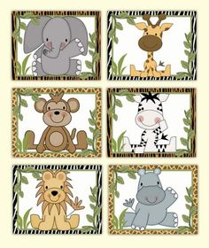 Jungle Animals Wall Art Prints Baby Boy Safari Zoo Nursery Decor #decampstudios