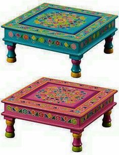 """Handpainted indian bajot coffee table"" and one for Lezlee in PINK, pleeze! Whimsical Painted Furniture, Bohemian Furniture, Indian Furniture, Painted Chairs, Hand Painted Furniture, Funky Furniture, Colorful Furniture, Paint Furniture, Repurposed Furniture"