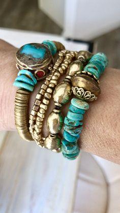 Boho Jewelry, Jewelry Art, Beaded Jewelry, Jewelry Design, Fashion Bracelets, Jewelry Bracelets, Jewelery, Bracelet Set, Bracelet Making