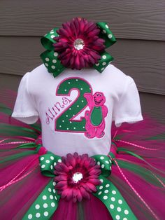 Personalized Barney Birthday Tutu Outfit