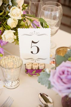 Wine cork table number holders - perfect for a vineyard wedding {Candace Jeffery Photography}