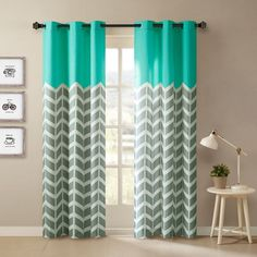 Shop for Intelligent Design Rayna Chevron Printed Grommet Top Curtain Panel Pair in Aqua (As Is Item). Get free delivery On EVERYTHING* Overstock - Your Online As Is Store! Get in rewards with Club O! Chevron Curtains, Green Curtains, Grommet Curtains, Drapes Curtains, Pattern Curtains, Modern Curtains, Printed Curtains, Velvet Curtains, Intelligent Design