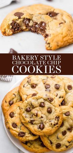 May 2020 - Ultra thick Bakery Style Chocolate Chip Cookies feature golden brown edges with soft and chewy centers. This easy homemade, from-scratch recipe can be made in 30 minutes! The BEST cookie I have ever tried. Bakery Style Chocolate Chip Cookie Recipe, Easy Chocolate Chip Cookies, Yummy Cookies, Chocolate Recipes, Mint Chocolate, Cookie Bakery, Best Cookie Recipes, Baking Recipes, Gourmet