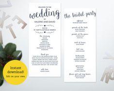 Printable Wedding Program Ceremony Template Marble Program | Etsy Diy Wedding Programs, Printable Wedding Programs, Wedding Ceremony, Program Template, Menu Cards, Vows, Programming, Texts, Printables