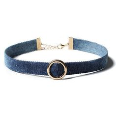 Metal Ring Denim Choker Necklace (€6,60) ❤ liked on Polyvore featuring jewelry, necklaces, choker, accessories, choker jewellery, metal choker, metal choker necklace, metal necklace and choker necklace
