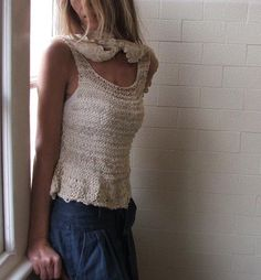 Ivory Cream Cotton and Linen loose weave tank by ileaiye on Etsy,