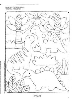 dinosaur color page Dinosaurs Preschool, Dinosaur Activities, Preschool Writing, Dinosaur Crafts, Preschool Printables, Preschool Worksheets, Kindergarten Activities, Activities For Kids, Drawing For Kids