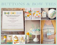Buttons and Bow Ties theme! Love it! Linen, Lace, & Love: Baby Shower Ideas