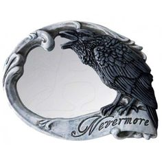 Nevermore Skull Raven Compact Makeup Mirror - New at GothicPlus.com Price: $16.00  Lovely little travel mirror in the shape of a skull has a raven on the mirror site with Poe's famous Nevermore.  Cold cast resin mirror hand painted with amazing detail is 3.5 nches wide.  #gothic #fashion #steampunk