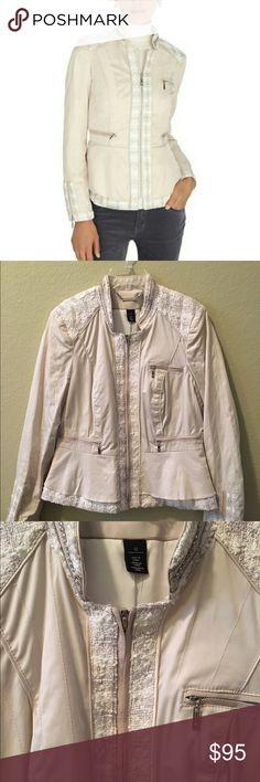 WHBM Jacket Stylish cream jacket with silver detail. Fully lined. White House Black Market Jackets & Coats