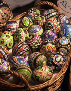 A basket of colorful Sorbian Easter Eggs at an Easter Egg market in Seligenstadt, Germany. The Sorbs are a slavic minority living in eastern Germany near Hoyerswerda. The Easter Egg markets are popular places during the Easter season, and collecting eggs can be an expensive hobby