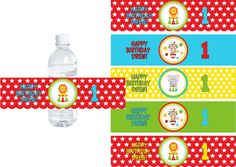Big Top Circus  - Buy 2 Get 1 FREE - Water Bottle Labels DIY PRINTABLE File Personalized Party Decorations