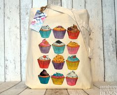 Cupcakes Illustration Eco Cotton Tote Bag by ceridwenDESIGN