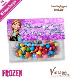 Disney Frozen Valentine Favor Bag Toppers digital by VintageDS