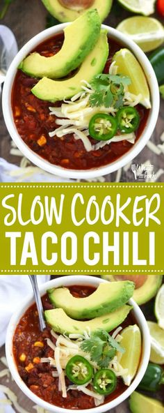 This healthy Slow Cooker Taco Chili makes a great meal any night of the week! It's super easy to prep and can also be a great freezer meal to add to the rotation. The cooked chili also freezes well! Easy slow cooker dinner recipe from What The Fork Slow Cooker Ground Beef, Slow Cooker Tacos, Slow Cooker Chili, Healthy Slow Cooker, Healthy Meals, Healthy Recipes, Chili Recipes, Soup Recipes, Free Recipes