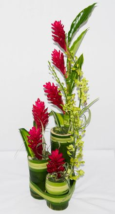Our tropical design of ginger lilies and dendrobium arranged in evergreen plant material (fresh bamboo stems) is becoming a signature request at Flowers Express Inc.