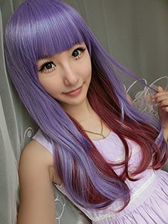 SMILE Wig Harajuku Anime Young Long Big Wavy Purple Red Lolita Synthetic Ombre Cosplay For North Face Women ** Want to know more, click on the image.