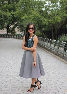 Teal Floral Top & Striped Midi Skirt