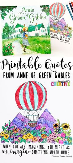 Free Anne of Green Gables printable quote coloring pages to color while listening to a book, or for anytime!