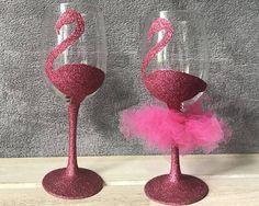 Personalised Pink Glitter Flamingo Wine Glass Birthday Gift