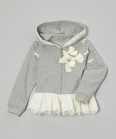 Love this Gray Bow Skirted Hoodie - Infant, Toddler & Girls on #zulily! #zulilyfinds
