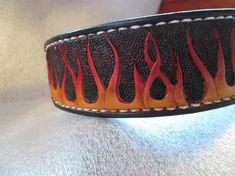 Airbrushed leather collars , dog collars , custom flames , skull collar , medium collar , cool collars , black collar